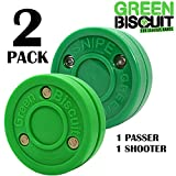 Green Biscuit 2 Pack  1 Passer and 1 Shooter   Off-Ice Shooting, Stickhandling and Passing Pucks   The are Great for Street Hockey