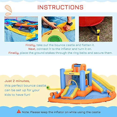 Outsunny 5-in-1 Kids Inflatable Bounce House Jumping Castle with Water Pool, Slide, Climbing Walls, & 2 Water Guns