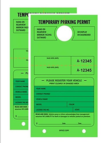 TEMPORARY PARKING PERMIT - Mirror Hang Tags, Numbered with Tear-Off Stub, 7-3/4'' x 4-1/4'', Bright Fluorescent Green, 50 Per Pack - Double-Pack (100 Tags)