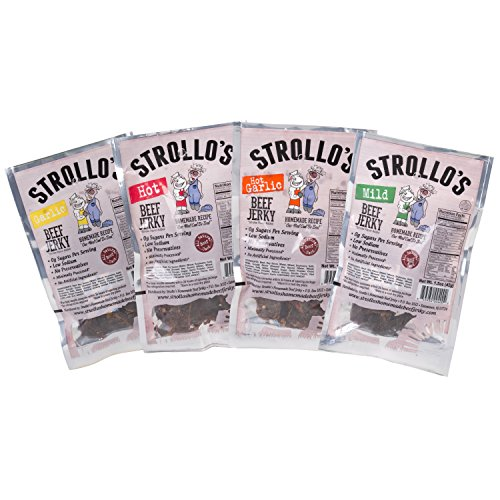 Cheap Strollo's Beef Jerky Sampler – Variety 4 Pack (1 of each flavor) Low Sodium, Low Carb, Low Sugar – Made with all Natural USA Beef, USDA Certified
