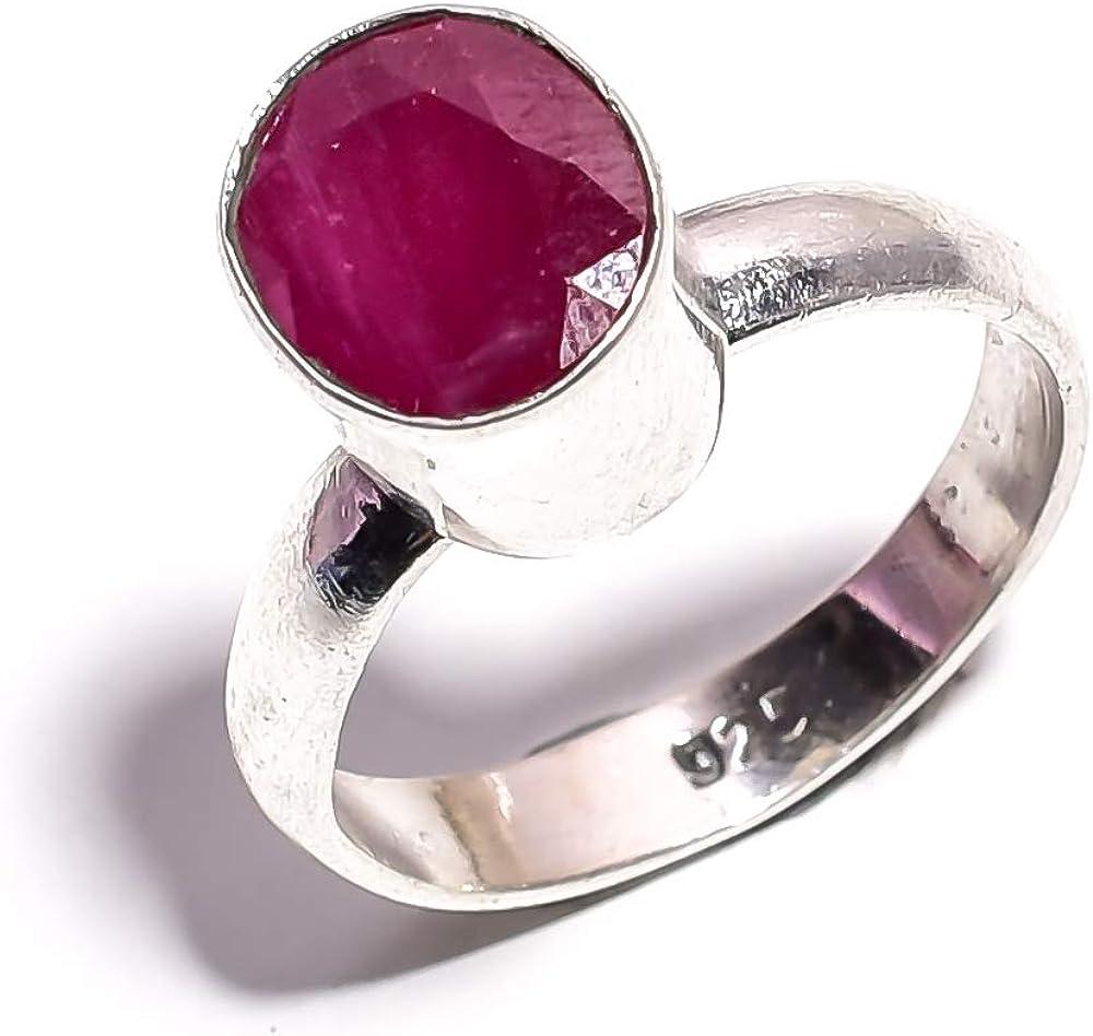 mughal gems & jewellery Anillo de Plata esterlina 925 Anillo de joyería Fina de Piedra Preciosa de rubí Natural de Cachemira (tamaño 7.5 U.S)