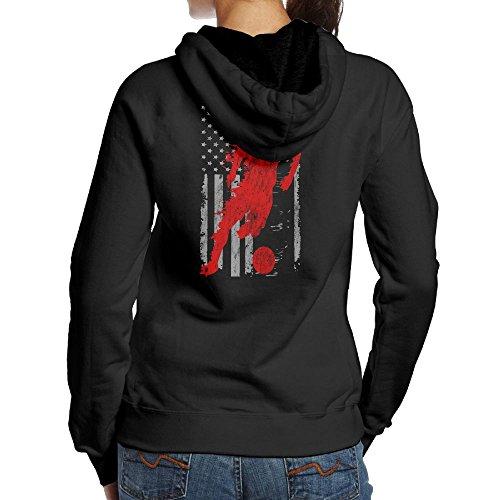 EDRJY Vintage Soccer American Flag USA Adult Cotton Long Sleeve Hoodie Sweatshirt Hooded Pullover Tops (Soccer Soccer Sweatshirt)
