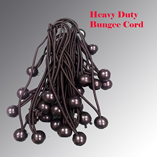 Premium Grade 3/16'' Bungee Cord Ball Bungees Canopy Tie Downs Straps Heavy Duty Tarp Tent (6'' Black -100pcs) by DSM (Image #1)