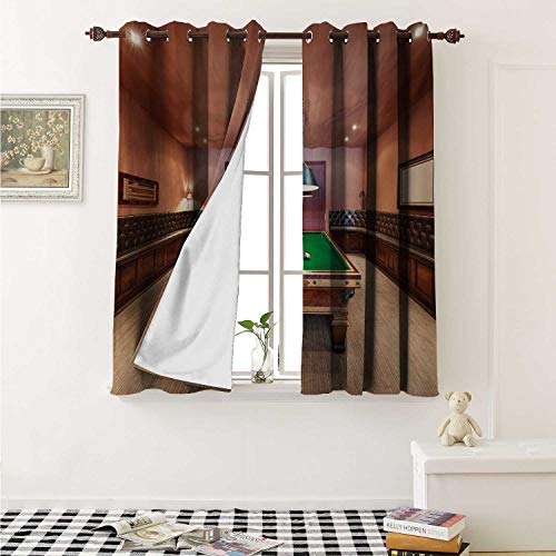 shenglv Modern Decorative Curtains for Living Room Entertainment Room in Mansion Pool Table Billiard Lifestyle Photo Print Curtains Kids Room W72 x L72 Inch Cinnamon Brown Green