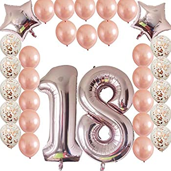 Cheeringup 18th Birthday Decorations Party Supplies Rose Gold Confetti Latex Balloons Happy Banner As Gift For GirlsBoysMen