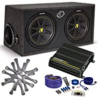 Kicker Comp Dual 12 package with Kicker CX300.1 300 watt monoblock, grilles, and wiring kit
