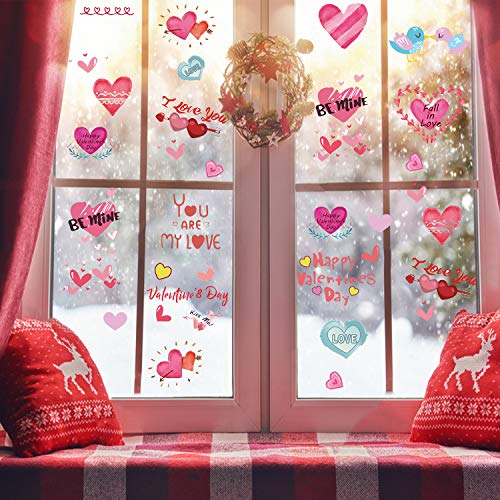 (Ocosy 172Pcs Valentine's Day Window Clings Valentines Day Decorations Heart Window Clings Décor (Valentine's Day) )