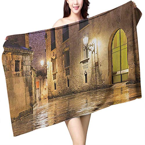- flymeeo Extra Long Bath Towel Gothic Gothic Ancient Stone Quarter of Barcelona Spain Renaissance Heritage Night Street Photo W20 xL39 Suitable for bathrooms, Beaches, Parties