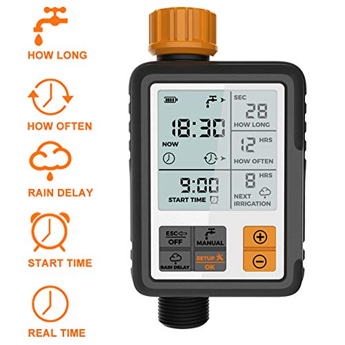 Kazeila Programmable Sprinkler Timer Digital Garden Lawn Hose Faucet Water Timer Irrigation System Controller/Child Lock Mode/Auto&Manual Mode/Rain Delay/3 Inches Large Screen/IP69 Waterproof-Upgrade