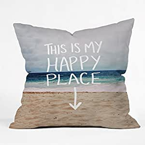 happy place x beach Throw Pillow cases 18x18 in