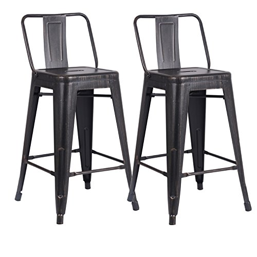 AC Pacific Modern Industrial Metal Barstool with Bucket Back and 4 Leg Design, 24' Seat Bar Stools (Set of 2), Distressed Black Finish