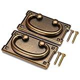 2pcs Vintage Antique Bronze Drawer Ring Pull Handles, Cabinet Door Furniture Handle Decoration (Yellow)