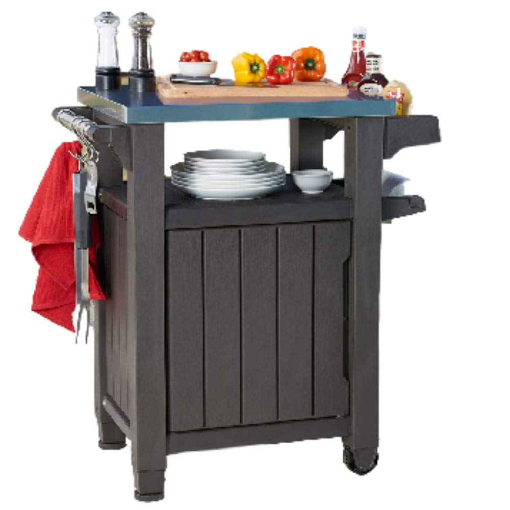 Serving Station Plastic Metal Grill Cart Storage Preperation Station Garden Potting Table Indoor Outdoor Stainless Steel Drinks Cupboard 40 Gallons Family Dinner Barbeque Plates Water Bottles Hanging