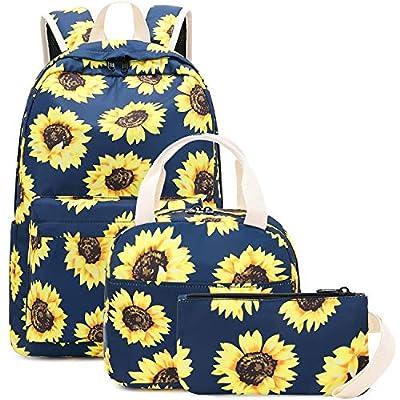 BLUBOON Teens Backpack Set Girls School Bags Kids Bookbags 3 in 1 (Sunflower Blue)   Kids' Backpacks