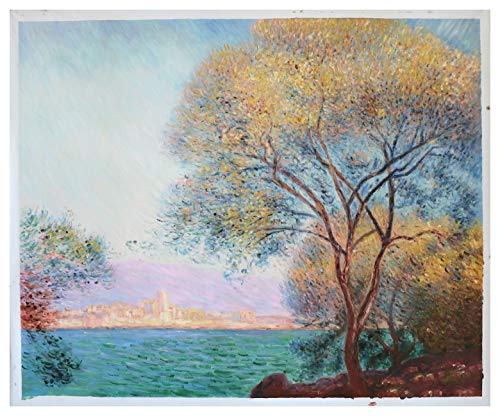 Antibes in The Morning - Claude Monet Hand-Painted Oil Painting Reproduction,Beautiful Mediterranean Coast,Living Room Large Wall Art Decor (24.02 x 31.89 inches)