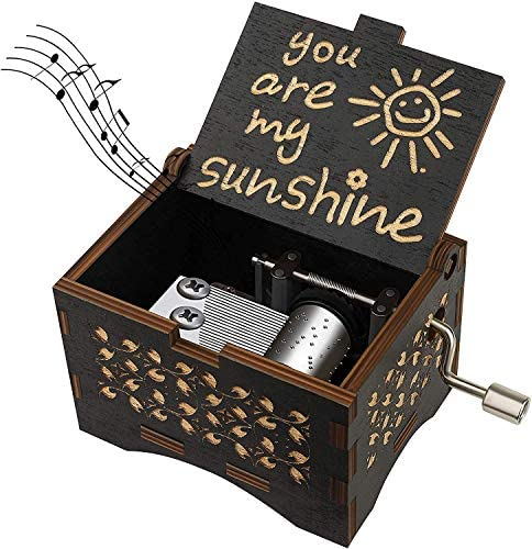 Dream Loom Wooden Music Box, Hand Cranked Laser Engraved Small Musical Boxes for Kids, Play You are My Sunshine Melody