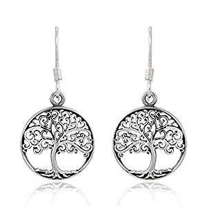 925 Sterling Silver Filigree Tree of Life Round Dangle Earrings