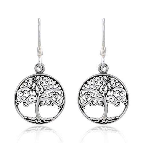 - 925 Sterling Silver Filigree Tree of Life Round Dangle Earrings
