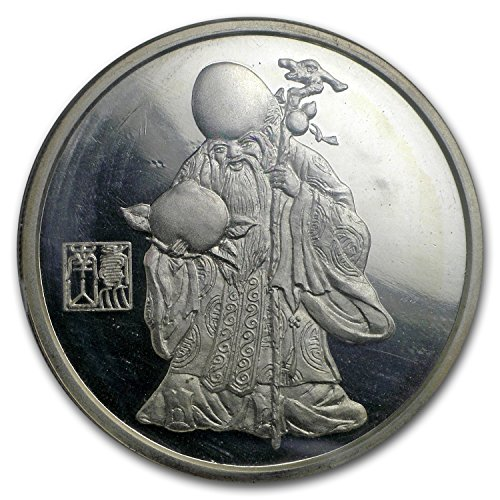 1987 CN China 1 oz Silver God of Longevity Medal Proof 1 OZ About Uncirculated