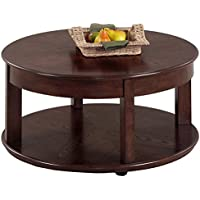 Contemporary Style Castered Round Shaped Wooden Top Cocktail Coffee Table with Bottom Shelf   Ash Finish, Living Room Decor - Includes Modhaus Living Pen
