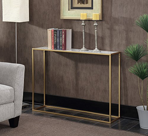 (Convenience Concepts Gold Coast Faux Marble Console Table)