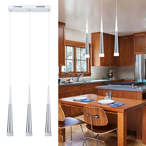 3-Light Modern Kitchen Island Pendant Lighting, LED Cone Pendant Light with Silver Plating Nickel Finish Acrylic Shade for Dining Rooms, Living Room, 7W, Warm White 3000K (Upgraded Version 3.0)
