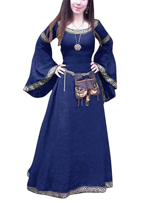 ShiFan Trajes De Fiesta Largos para Mujer Tallas Grandes Disfraz Medieval Vestidos Vintage Largos Azul S