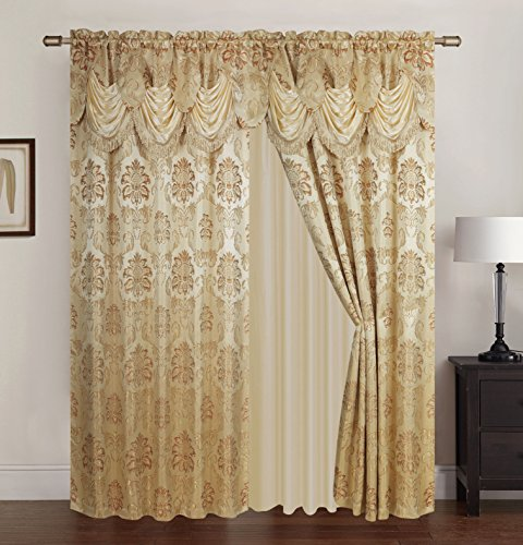 (RT Designers Collection Benton Jacquard Rod Pocket Single Curtain Panel, Beige)