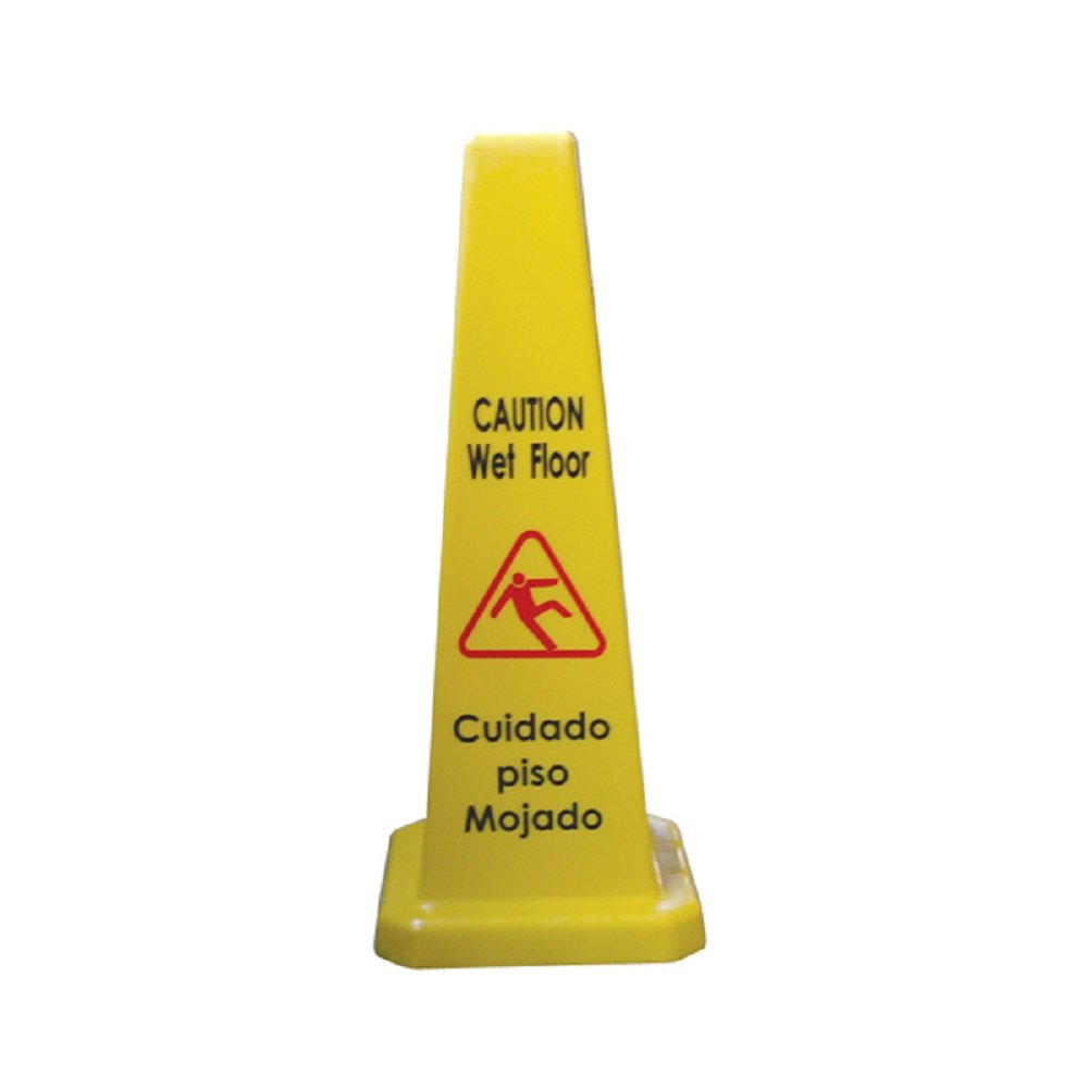4 PACK OF CAUTION WET FLOOR STAND SIGNS CONE YELLOW CAUTION WET FLOOR SIGN TWO SIDED WARNING ANTI SLIP CONE SHAPE JANITORIAL