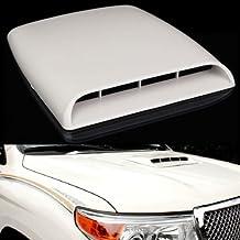 Car Decorative Air Flow Intake Hood Scoop Vent Bonnet Cover White Universal