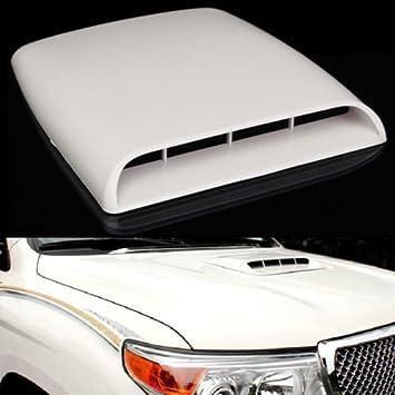 Universal Auto Decorative Air Flow Scoop Turbo Bonnet Vent Cover Hood White