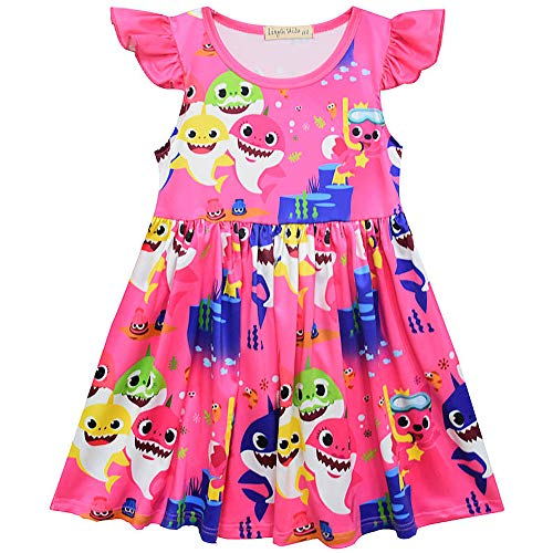 Crazy Gotend Toddler Girls Baby Shark Print Ruffles Performance Dress Rose 3-4Y/110 (Best Fabric For Clothes)