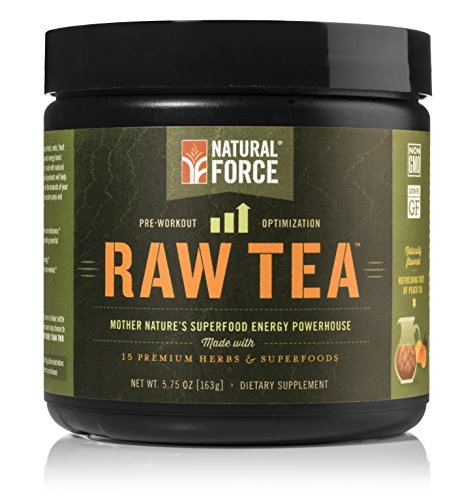 Natural Force® Raw Tea - #1 MOST POWERFUL NATURAL PRE WORKOUT SUPPLEMENT - Organic Ingredients, Vegan, Certified Paleo, and Non-GMO Clean Pre Workout *No Synthesized Vitamins* Peach, 5.75 oz.