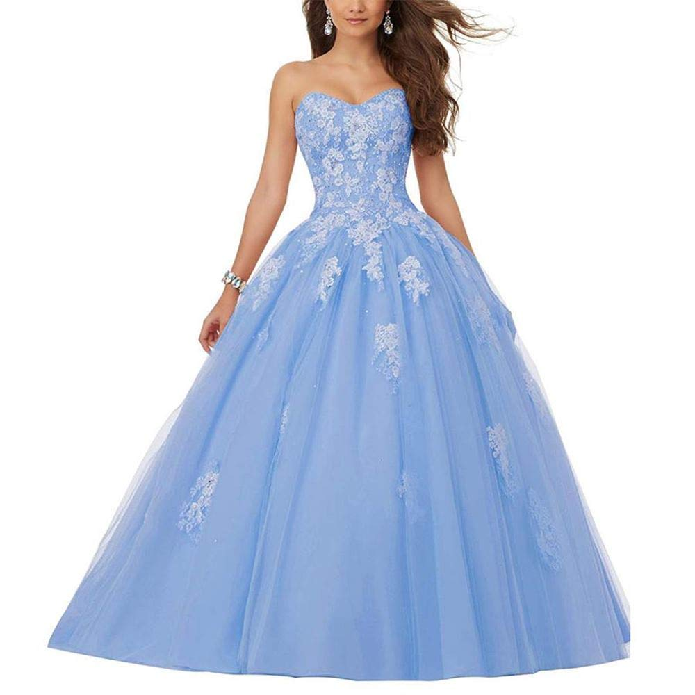 bluee Women's Beaded Sweetheart Lace Appliqued Ball Gown Wedding Dresses for Bride Plus Size