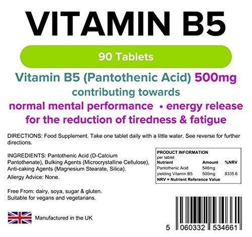 Lindens Vitamina B5 500 mg en comprimidos | 90 Paquete | Dosis del 8000 % de VRN que contribuye al rendimiento mental, al metabolismo normal y a reducir el ...