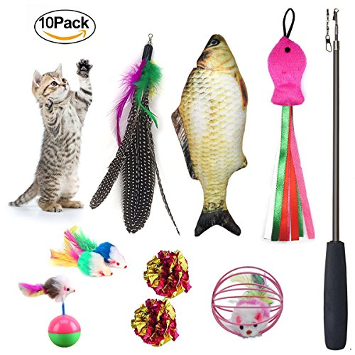 Cat Toys Set 10 Pieces Including Catnip Fish Interactive Feather Retractable Teaser Wand Fluffy Tumbler Mouse Mylar Crincle Balls For Kitten Kitty