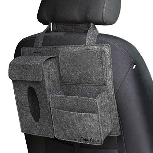 Clobeau Car Seat Back Organizer Hanging Bag Woolen Felt Storage Pocket Pouch Bin Stroller Bag Home Dorm Bedside Bag Tissue Box Case Cellphone Pens Holder Multi-Pocket
