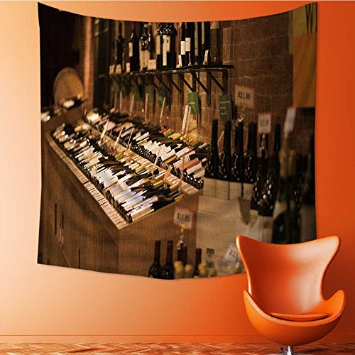 Muyindo Tapestry Mystic House Decor,depositphotos_115252022 stock photo bottles with wine in cellar Bedroom Living Room Dorm Wall Hanging Tapestry/59W x 59L INCH