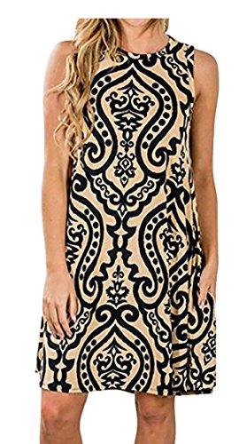 Sleeveless Khaki A Round Dresses Line Neck Women Jaycargogo Cocktail qxn61xt8