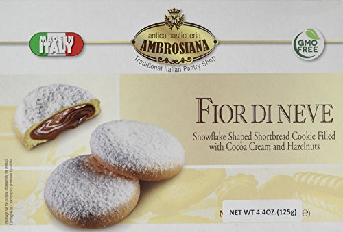 Chocolate Italian Cookies - Dolciaria Ambrosiana Fior Di Neve Snowflake Shaped Cookie, Shortbread with Cocoa Cream/Hazelnuts,  4.4 Ounce