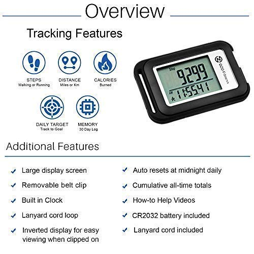 OZO Fitness SC 3D Digital Pedometer | Best Pedometer for Walking. Track Steps & Miles, Calories & Activity Time. Clip on…