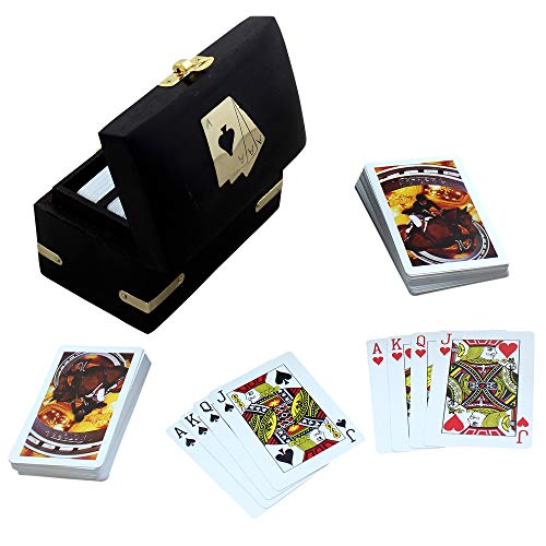 RoyaltyRoute Double Deck Playing Card Box with Decorative Wooden Nickel Inlay Card Holder Storage Box, Black - Party Game for 2-4 Players, Fun for Adults, Kids and Families