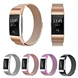 For Fitbit Charge 2 Strap Band, FashionAids Milanese Loop Stainless Steel Metal Bracelet Strap with Unique Magnet Lock for Fitbit Charge 2 Fitness Tracker Champagne Gold-S …