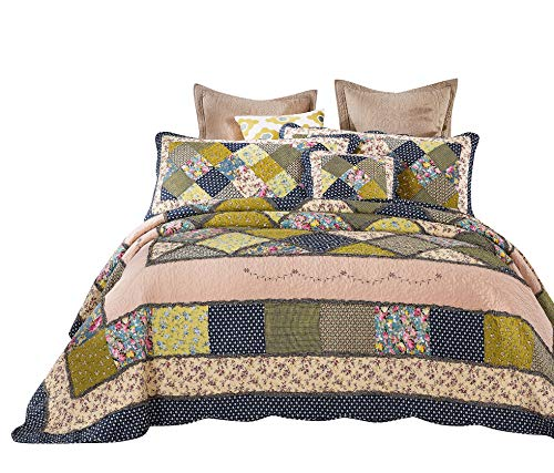 Tache 5 Pieces Calming Floral Patchwork Spring Shower Reversible Quilt Bedspread Set, Cal -