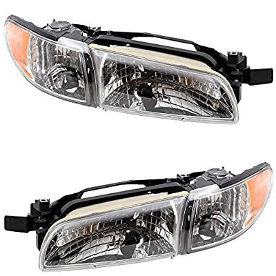 Replacement Driver and Passenger Set Halogen Headlights Compatible with 1997-2003 Grand Prix: Automotive