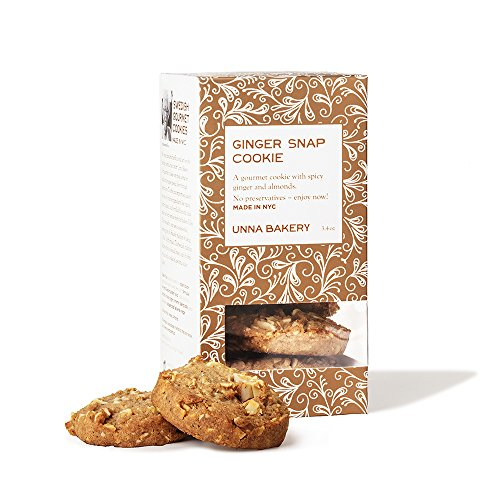 Unna Bakery, Ginger Snaps cookie. A crisp, spicy round full of flavor from ginger, cinnamon and cloves. With pieces of sweet almond. 3.4 oz. 8 cookies/box ()