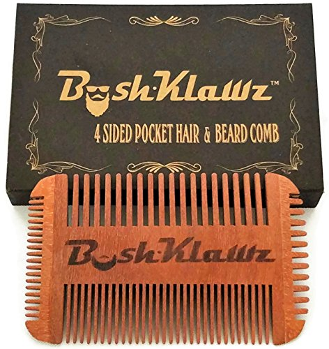 4Klawz Beard Comb – Pocket Comb for Men's Hair Beard Mustache and Sideburns with 4 Sides of Wide & Fine Teeth