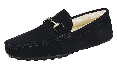 AaxFory Zapato de mocasines para hombre Cuero superior Forro de algodón Cabeza circulo Cusual y trabajar Invierno 47 Azul: Amazon.es: Zapatos y complementos