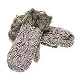 VANKER Women Lady Girl Knitted Soft gloves Winter Warmer Knitting Gloves Great gift for Xmas(Light gray)
