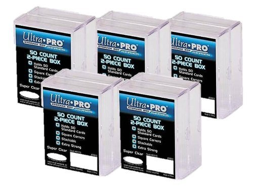Ultra Pro 2-Piece Clear Card Storage Box | Holds 50 Standard Cards | 2 boxes per pack | 5-Pack Total (Deck Case Card)